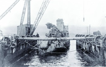 Salvaged destroyer in the floating dock © Orkney Library and Archive