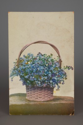 Postcard depicting a basket of flowers