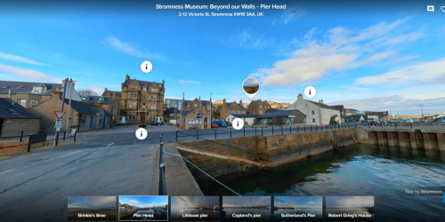 Image of Stromness pier head showing hot spots for virutal tour